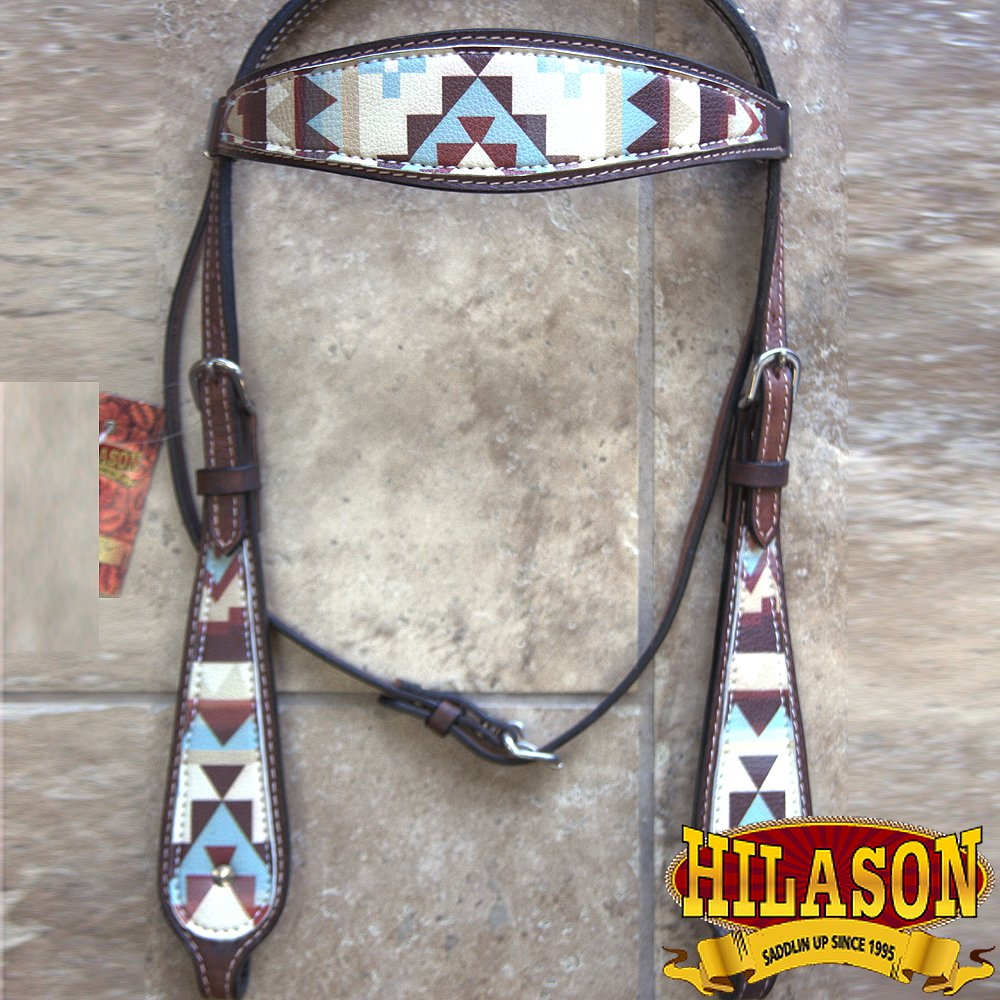 HILASON WESTERN LEATHER HORSE BRIDLE HEADSTALL DARK BROWN AZTEC PAINTED