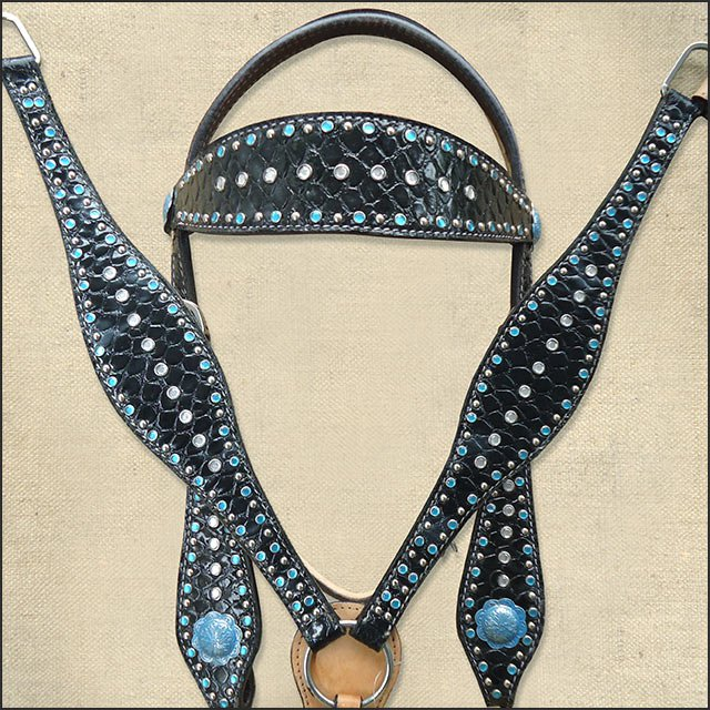 WESTERN LEATHER HORSE BRIDLE HEADSTALL BREAST COLLAR BLACK CROCODILE W/ CONCHO