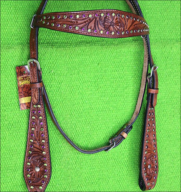 HILASON WESTERN LEATHER HORSE HEADSTALL BRIDLE MAHOGANY PURPLE GREEN CRYSTAL