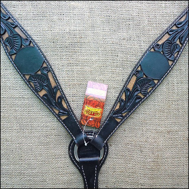 HILASON WESTERN LEATHER HORSE BREAST COLLAR HAND CARVED BLACK