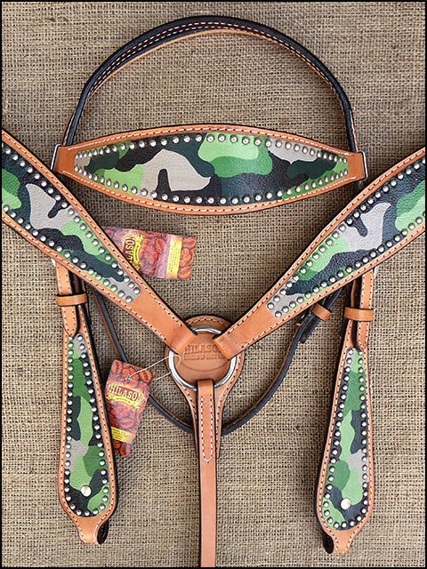 HILASON WESTERN LEATHER HORSE BRIDLE HEADSTALL BREAST COLLAR CAMOUFLAGE