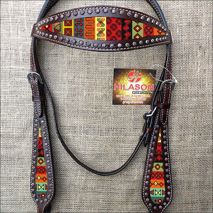 HILASON WESTERN LEATHER HORSE BRIDLE HEADSTALL BROWN W/ AZTEC INLAY