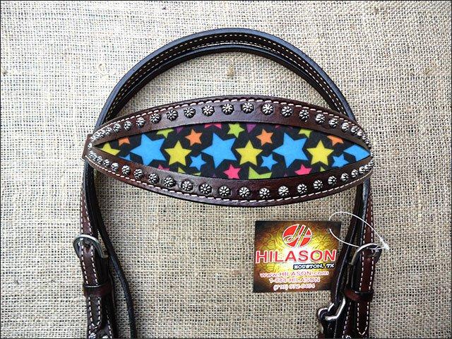 HILASON WESTERN LEATHER HORSE BRIDLE HEADSTALL DARK BROWN W/ STAR INLAY