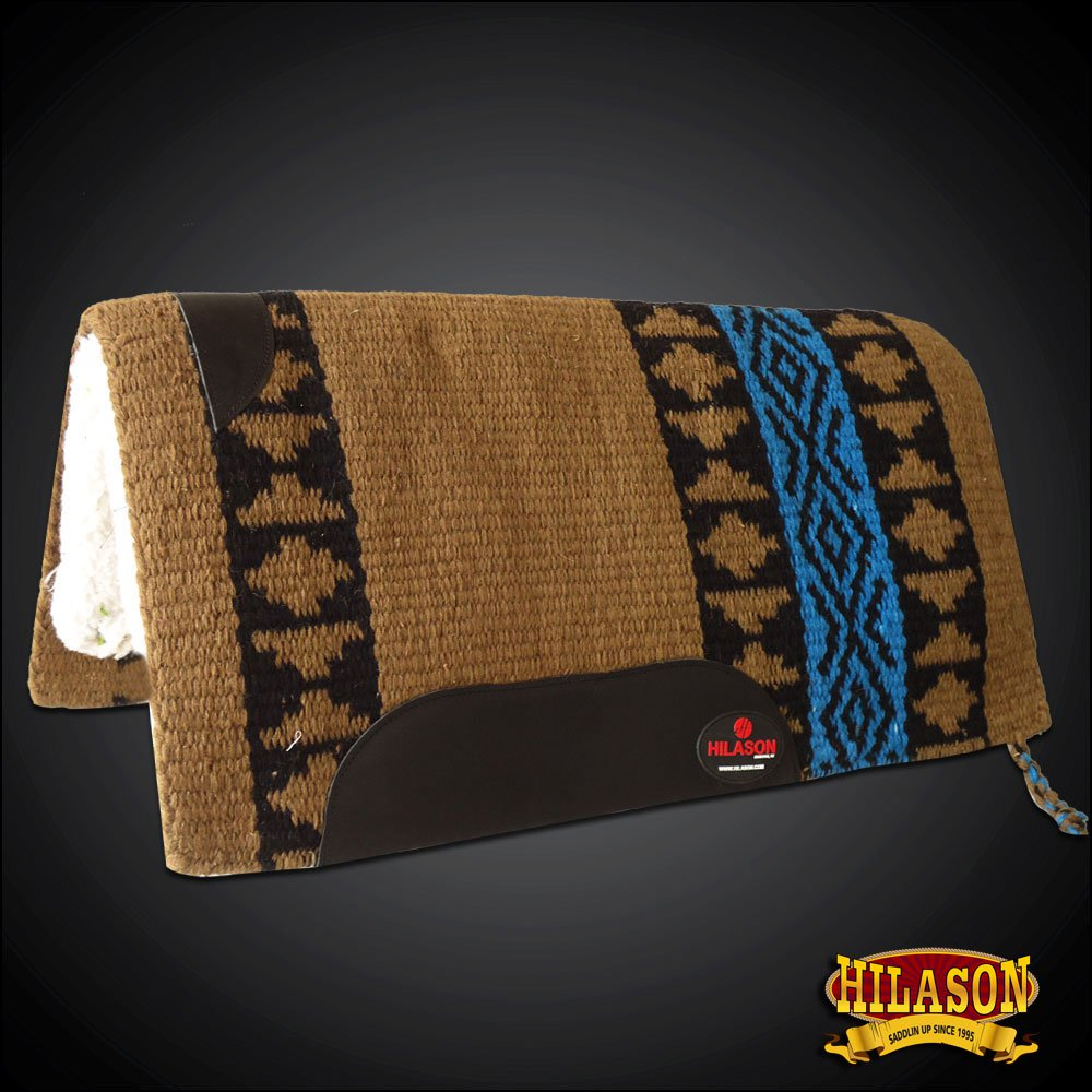 MADEINUSA FE338-F HILASON WESTERN WOOL GEL SADDLE BLANKET PAD BROWN TERQUOISE