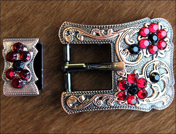 SET OF 2 BLACK SIAM CRYSTALS FLORAL COPPER FINISH BUCKLE SET BELT HEADSTALL