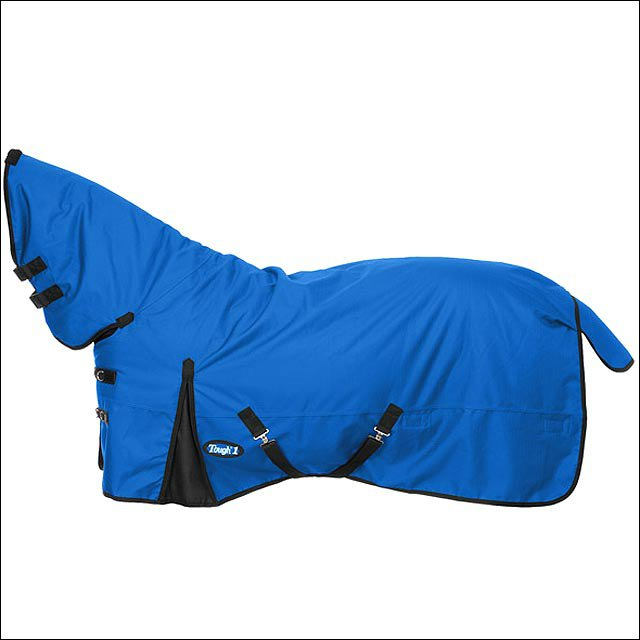 75 inch BLUE TOUGH-1 1200D WATERPROOF POLY FULL NECK TURNOUT HORSE BLANKET