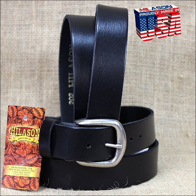 44IN. BLACK 1.5in CASUAL PLAIN STRAP LEATHER BELT MADE IN USA