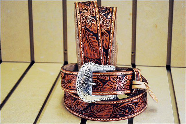 46in. TONY LAMA FLORAL HAND TOOLED WESTERN LEATHER MEN BELT TAN