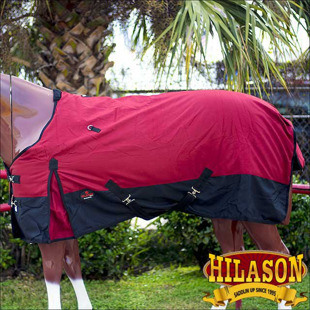 """66"""" HILASON 1200D WINTER WATERPROOF 400GSM POLY TURNOUT HORSE BLANKET RED"""