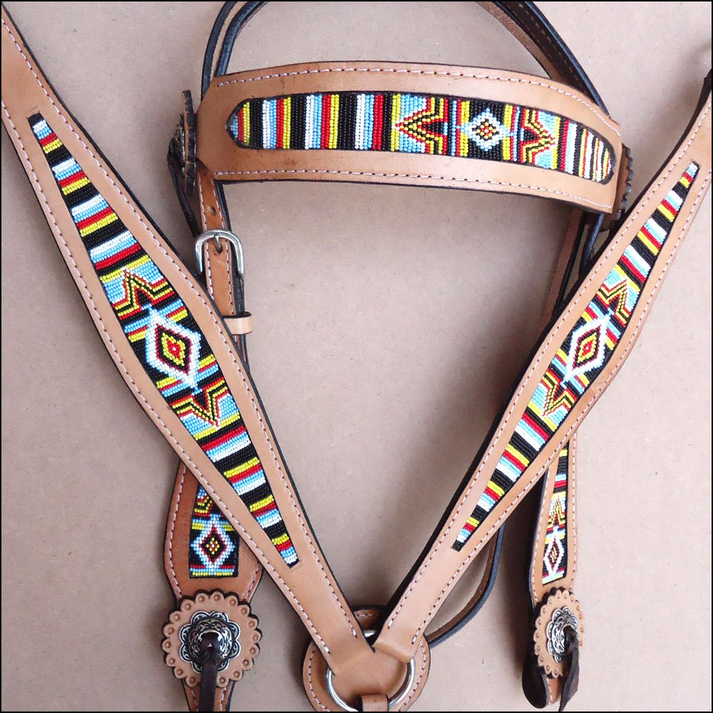 HILASON WESTERN LEATHER BRIDLE HEADSTALL BREAST COLLAR TAN W/ BEADED INLAY