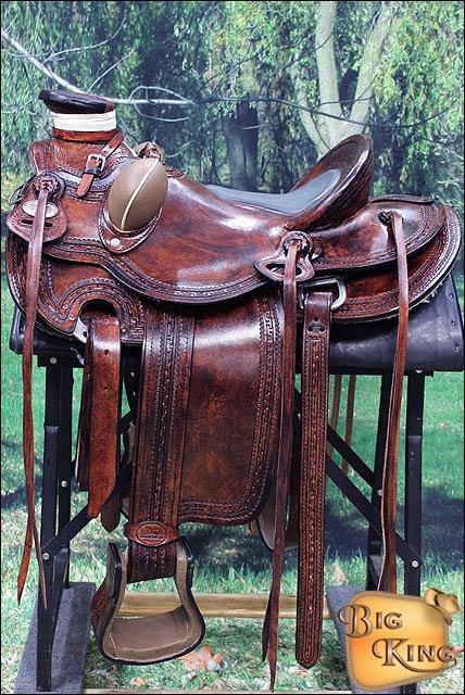 W84AM-F HILASON BIG KING SERIES WESTERN WADE RANCH ROPING COWBOY TRAIL SADDLE 15