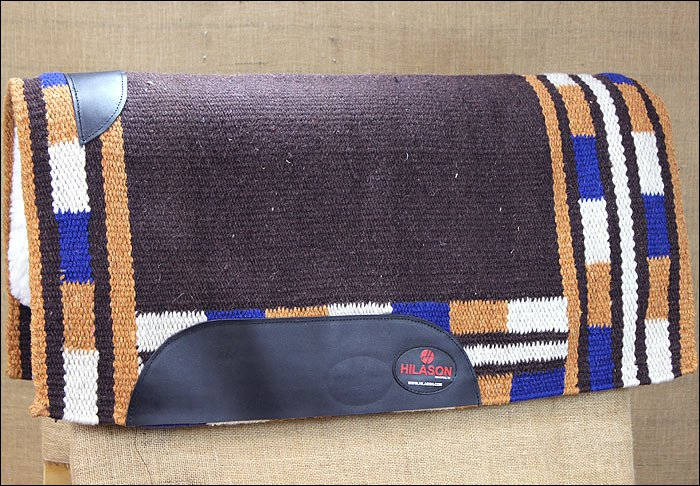 FEP228 MADE USA HILASON WESTERN WOOL SHOCK BUSTER SADDLE BLANKET PAD BROWN RUST