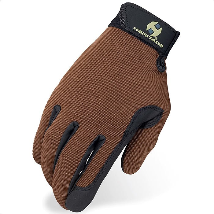 SIZE 09 HERITAGE PERFORMANCE RIDING GLOVES HORSE EQUESTRIAN BROWN