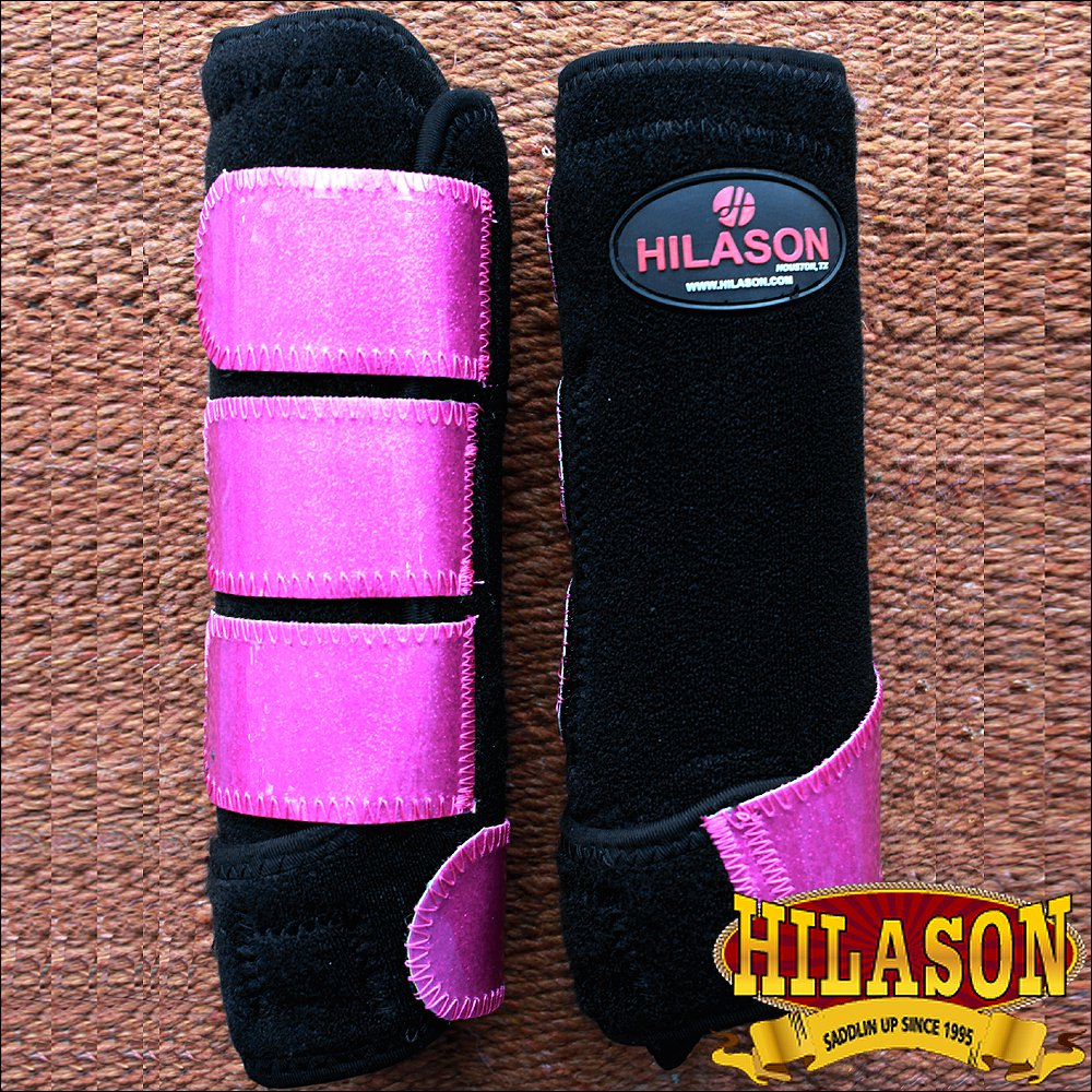 MEDIUM HILASON GLITTER PINK HORSE FRONT LEG PROTECTION ULTIMATE SPORTS BOOT PAIR