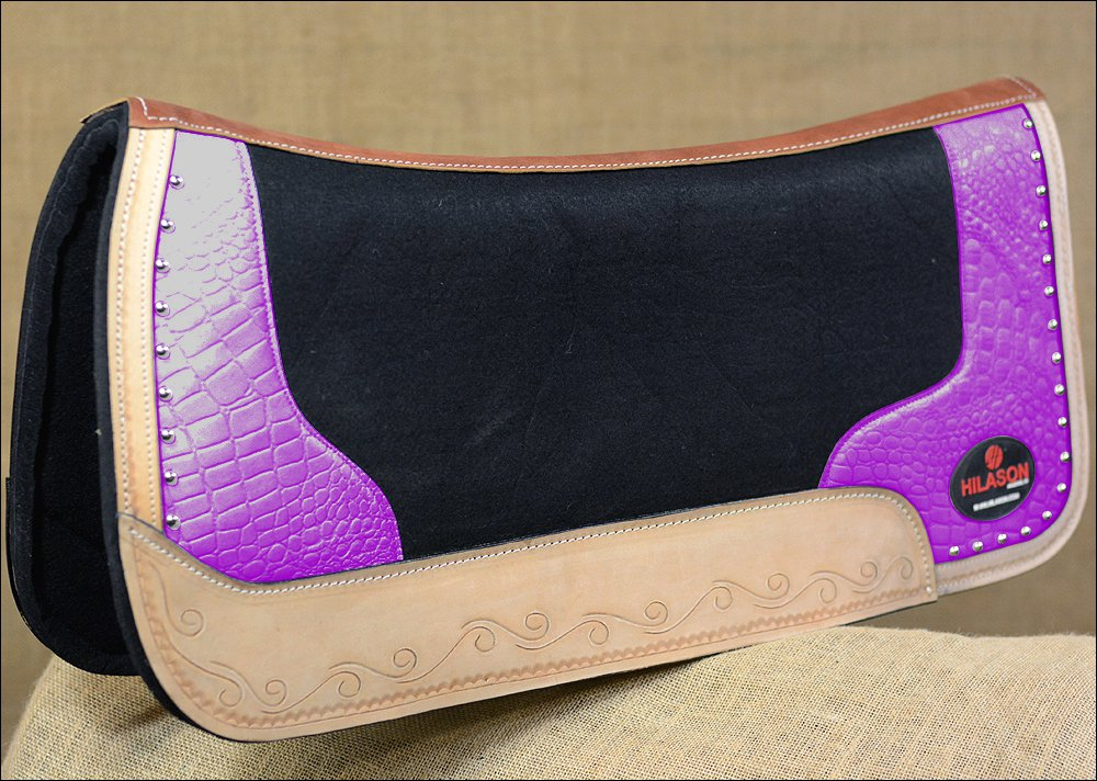FP835-F HILASON WESTERN WOOL FELT SADDLE PAD WITH PURPLE ALLIGATOR PRINT LEATHER