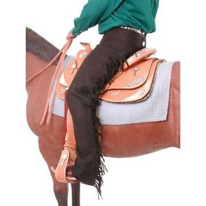 SMALL TOUGH 1 SYNTHETIC SUEDE LEATHER EQUITATION SILVER CONCHO CHAPS BLACK