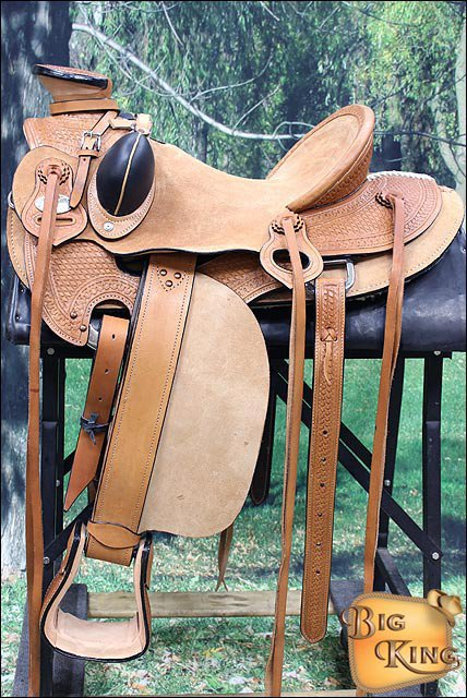 HILASON BIG KING SERIES WESTERN WADE RANCH ROPING COWBOY LEATHER HORSE SADDLE