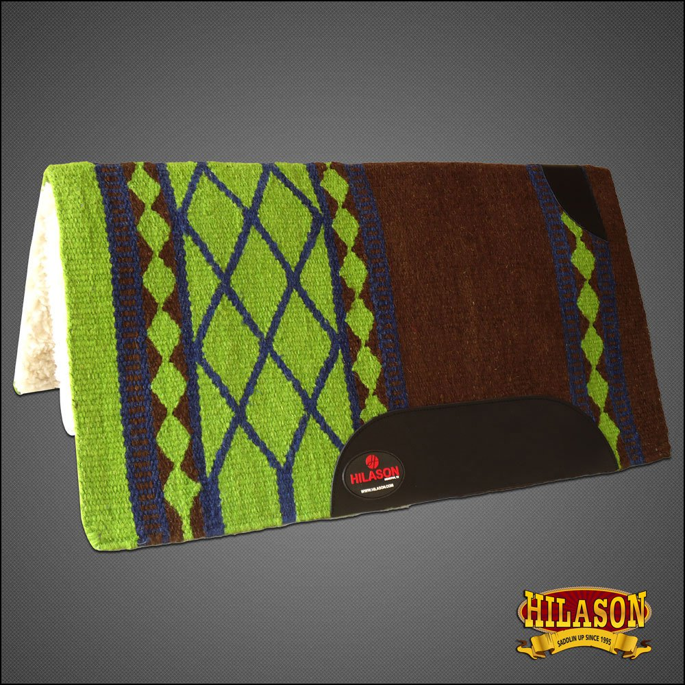 MADE IN USA FE143 HILASON WESTERN WOOL FELT SADDLE BLANKET PAD BROWN LIME GREEN