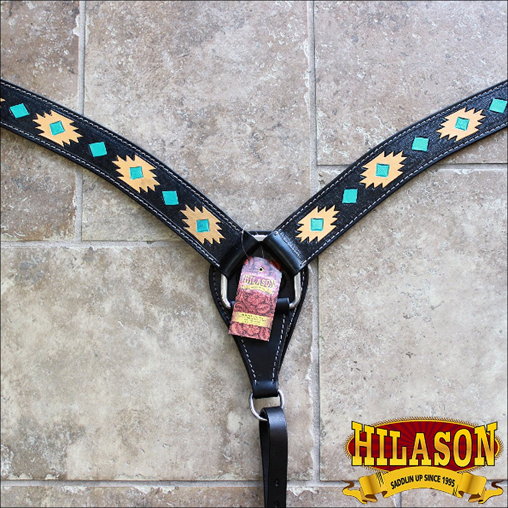 HILASON WESTERN LEATHER HORSE BREAST COLLAR BLACK AZTEC HAND TOOL PAINT
