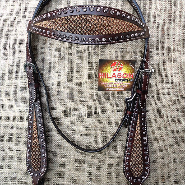 HILASON WESTERN LEATHER HORSE BRIDE HEADSTALL BROWN W/ GOLD INLAY