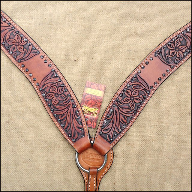 F493 HILASON WESTERN LEATHER HORSE BREAST COLLAR MAHOGANY HAND TOOL