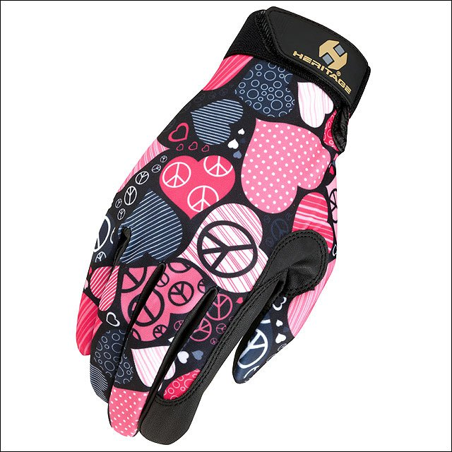 08 SIZE HERITAGE PERFORMANCE HORSE RIDING GLOVE LYCRA LEATHER PEACE LOVE