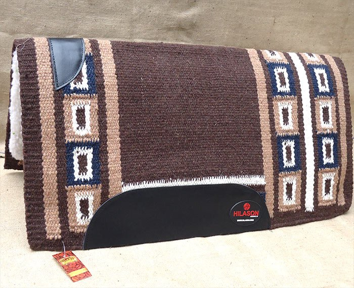 FEP305 MADE IN USA HILASON WESTERN WOOL SHOCK BUSTER SADDLE BLANKET PAD BROWN NA