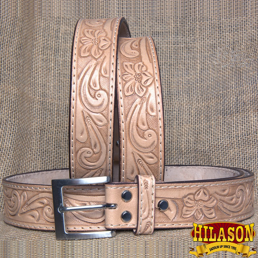 GM301-F HILASON HAND MADE HEAVY DUTY BUFFALO HIDE LEATHER STICHED BELT 60""