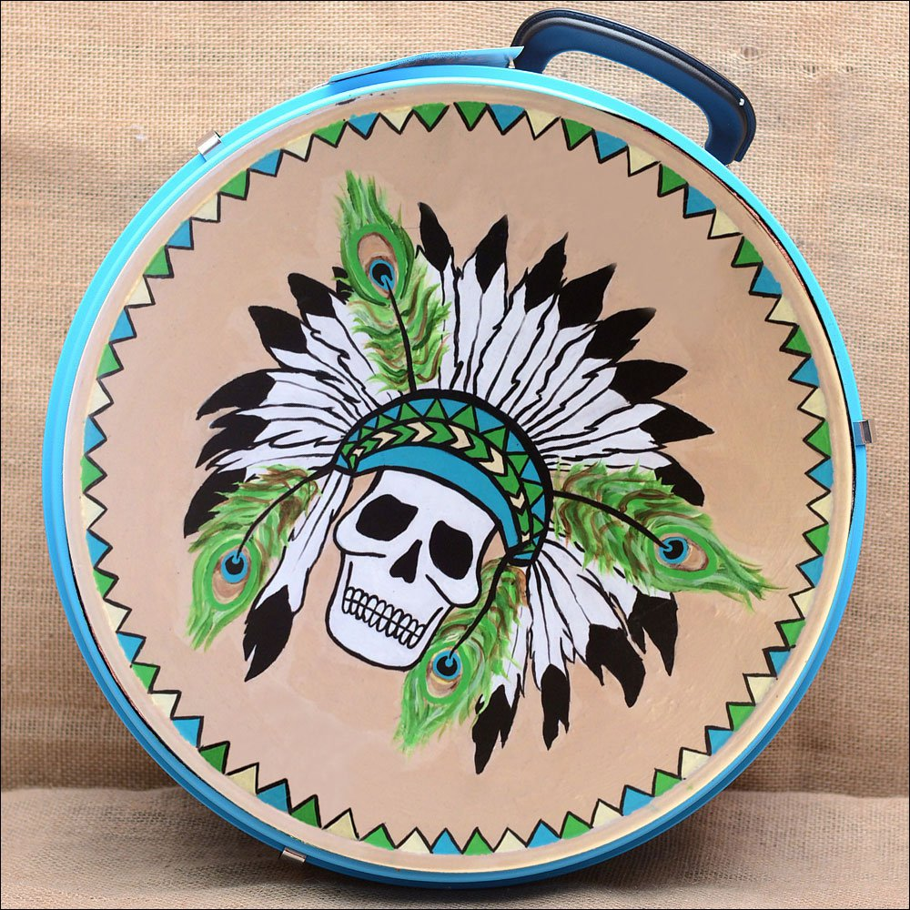 MED HILASON HORSE TURQUOISE MOLDED HEAVY DUTY ABS ROPE CAN SKULL DESIGN LEATHER