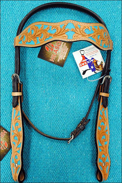 NEW HILASON WESTERN LEATHER HORSE BRIDLE HEADSTALL W/ TURQUOISE HAND PAINT INLAY