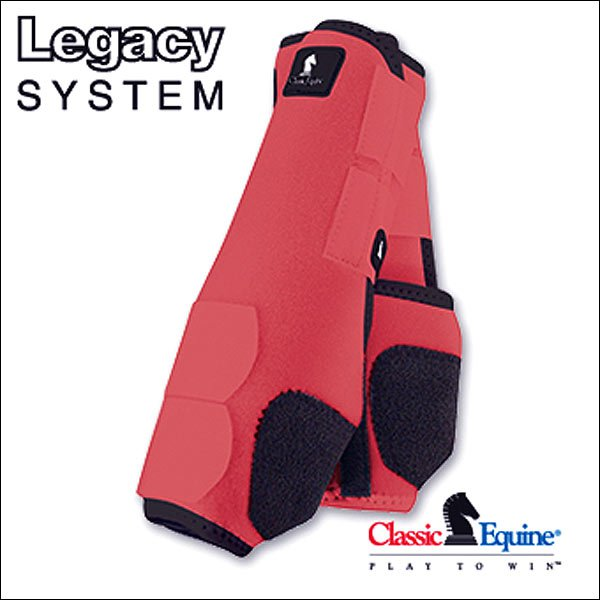 LARGE CORAL CLASSIC EQUINE LEGACY SYSTEM HORSE FRONT SPORT BOOT PAIR