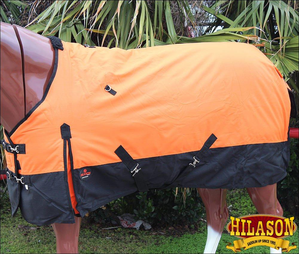 72 in HILASON 600D RIPSTOP WATERPROOF POLY TURNOUT HORSE WINTER SHEET ORANGE