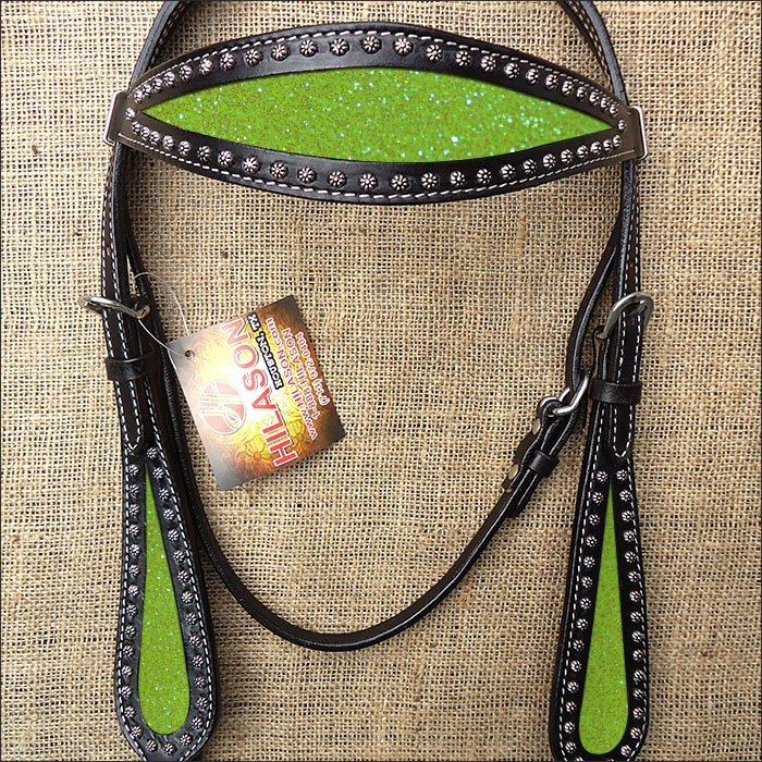HILASON WESTERN LEATHER HORSE BRIDE HEADSTALL BLACK W/ YELLOW INLAY