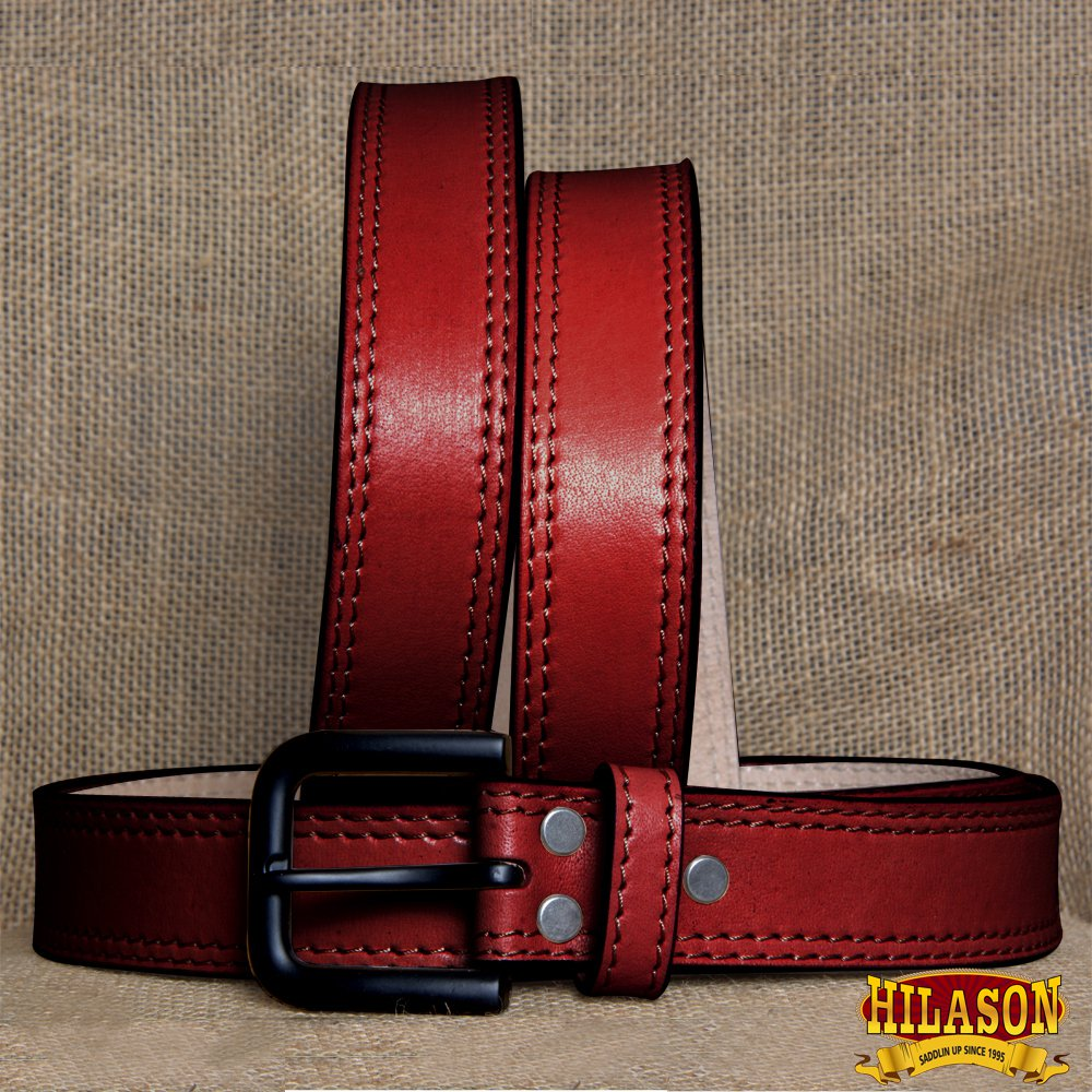 GM101DB-F HILASON HAND MADE HEAVY DUTY BUFFALO HIDE LEATHER STICHED BELT 46""