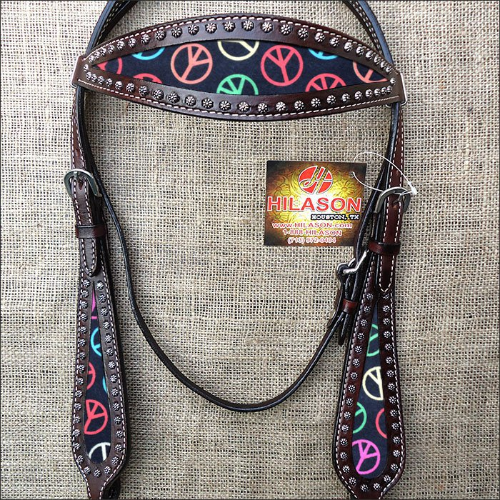 HILASON WESTERN LEATHER HORSE BRIDLE HEADSTALL DARK BROWN W/ PEACE SIGN INLAY