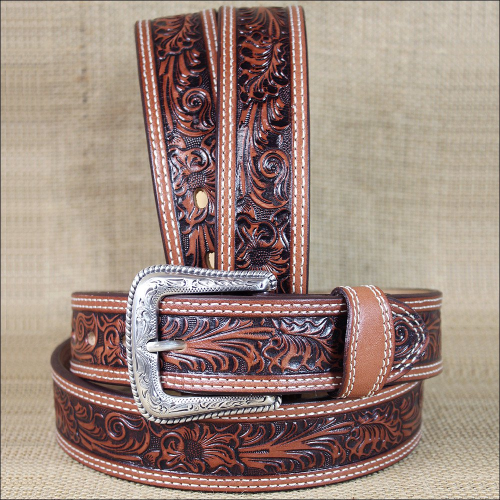 38 INCH WESTERN MEN TAN TOOLED DARK BROWN LEATHER STITCHING BELT