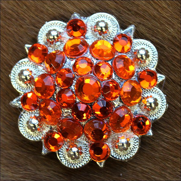 C29 SET OF 4 ORANGE CRYSTAL 1-1/4in BERRY CONCHO RHINESTONE SADDLE TACK