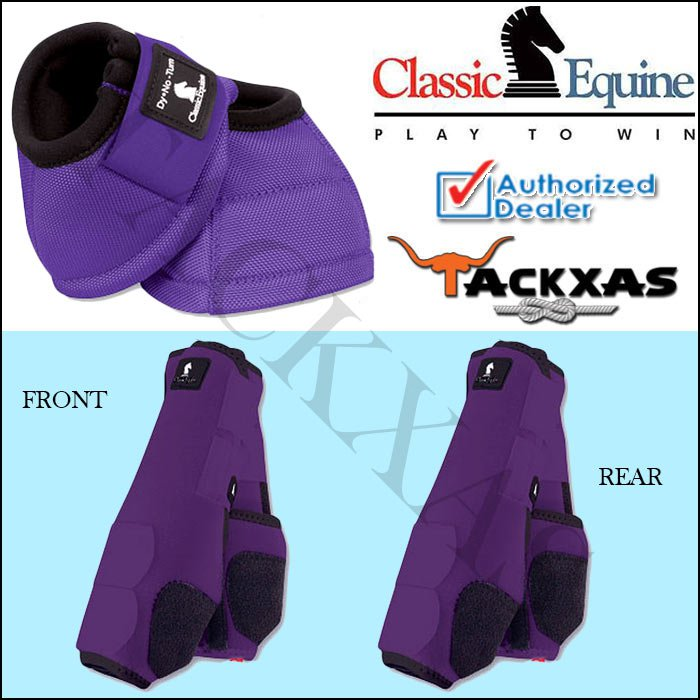 SMALL PURPLE CLASSIC EQUINE FRONT REAR LEGACY SPORTS HORSE NO TURN BELL BOOTS