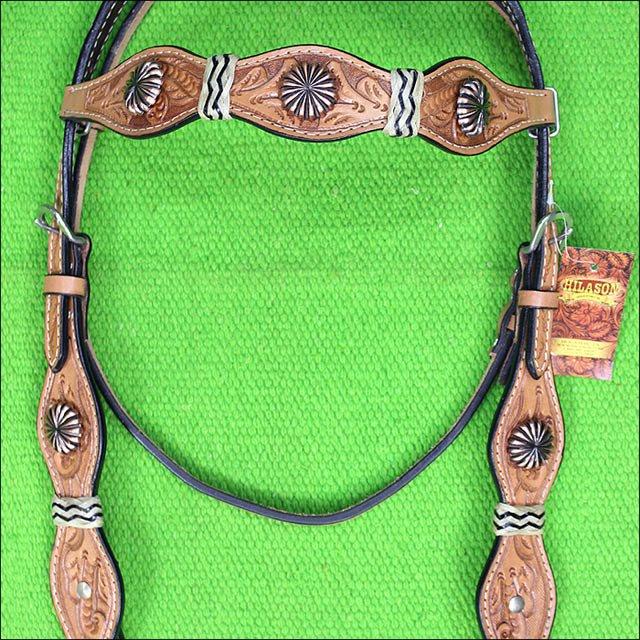HILASON WESTERN LEATHER HORSE BRIDLE HEADSTALL RAWHIDE TAN W/ CONCHO