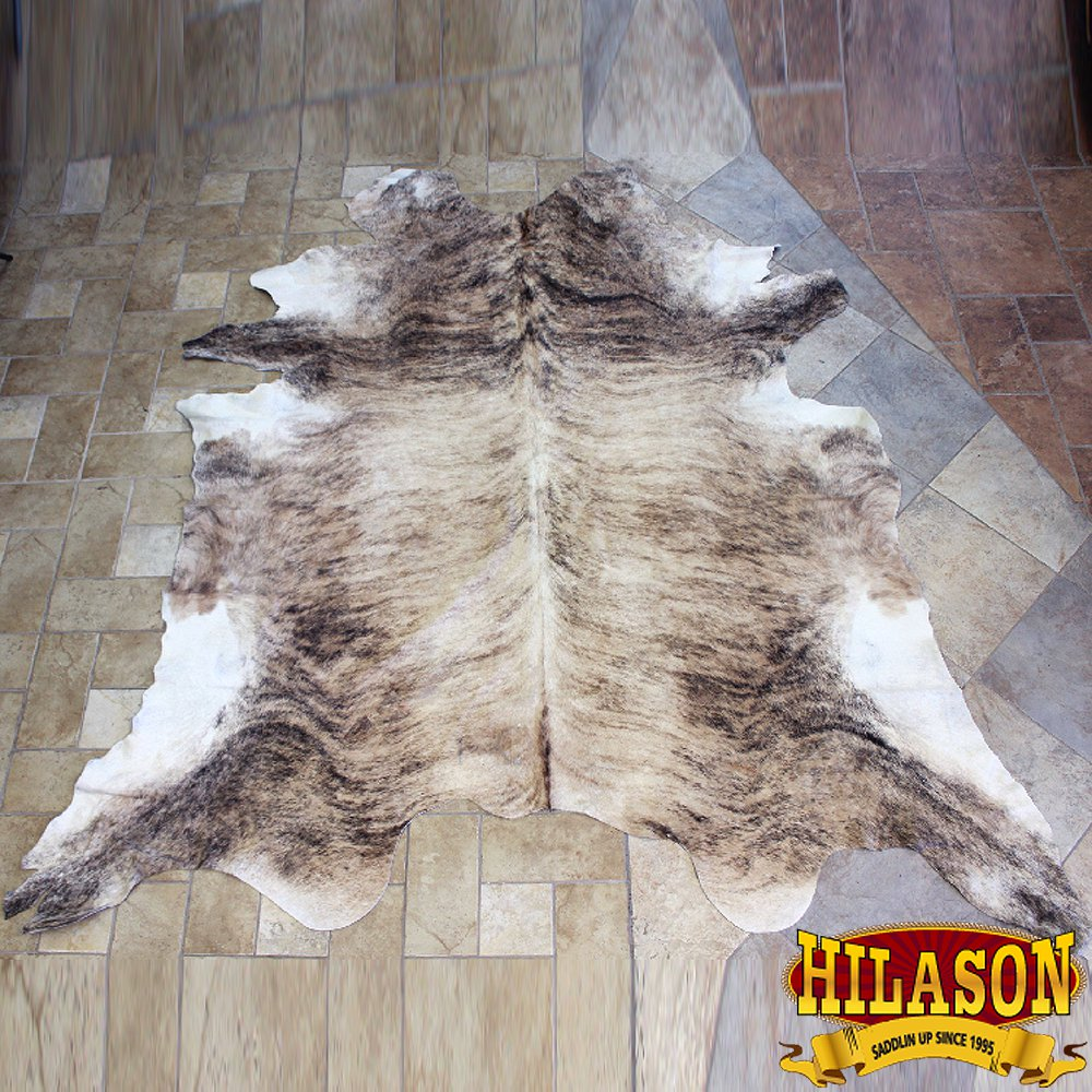 HS1175-F HILASON HAIR ON LEATHER PURE BRAZILIAN COWHIDE SKIN RUG CARPET NATURAL