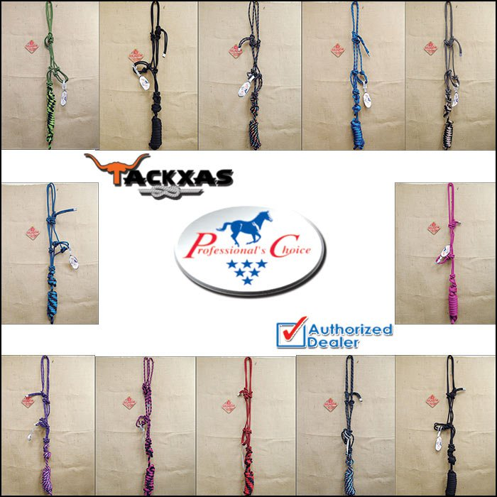 PROFESSIONAL CHOICE WESTERN HORSE TACK NYLON HALTER ROPE WITH 10' LEAD