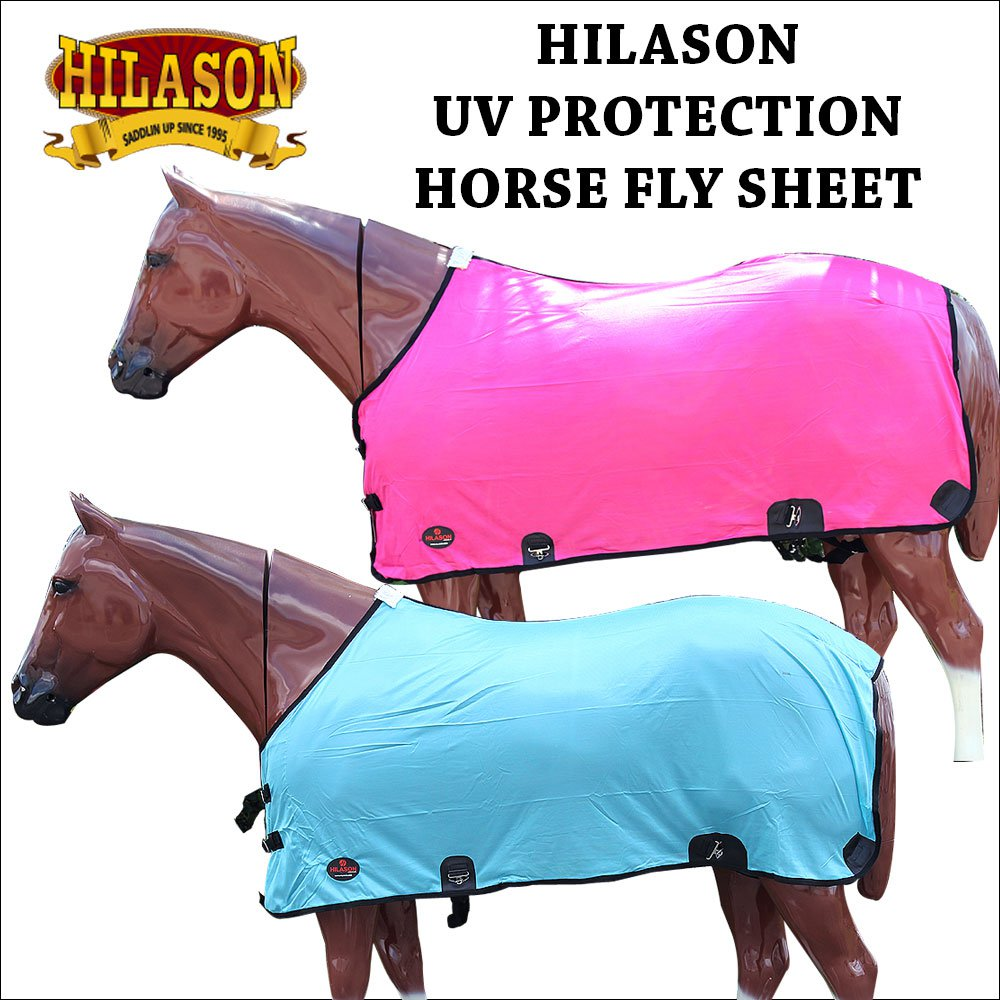 PINK / TURQUOISE HILASON UV PROTECTION AIRFLOW MESH HORSE FLY SHEET W/ SURCINGLE