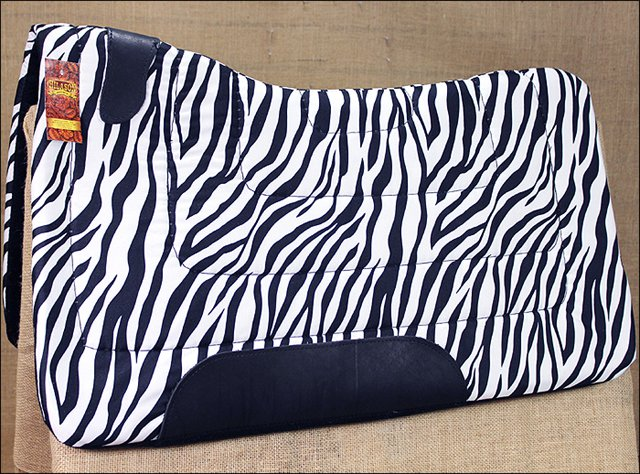 ZEBRA HILASON HORSE SQUARE SADDLEBACK CONTOURED CUT SADDLE PAD W/ FELT BOTTOM
