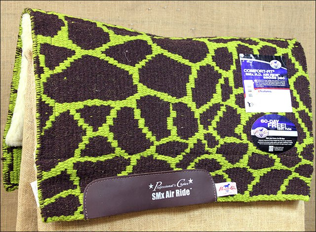 CHOCOLATE LIME PROFESSIONAL CHOICE COMFORT FIT SMX AIR RIDE SADDLE PAD GIRAFFE