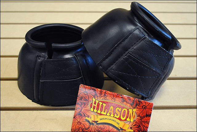 LARGE HILASON WESTERN HORSE TACK RUBBER BELL BOOTS BLACK