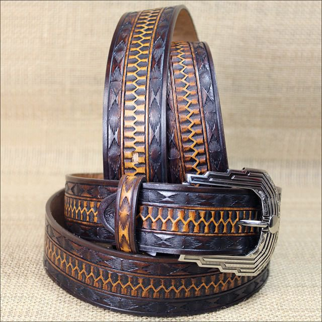 "38"" BROWN SILVER CREEK MIDNIGHT RIVER MEN & WOMEN EMBOSSED LEATHER BELT"