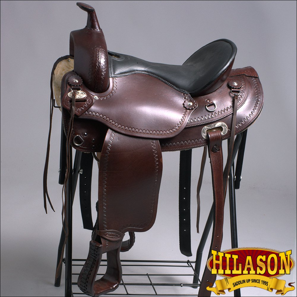 "DF200 15"" HILASON WIDE GULLET DRAFT WESTERN TRAIL ENDURANCE HORSE SADDLE"