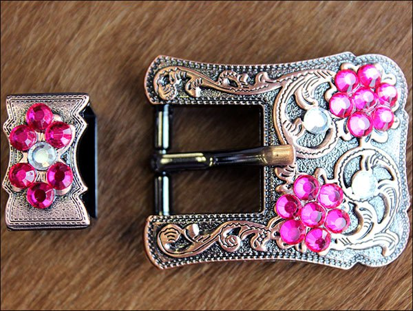 SET OF 32 CRYSTAL FUSCHIA CRYSTALS FLORAL COPPER FINISH BUCKLE BELT HEADSTALL