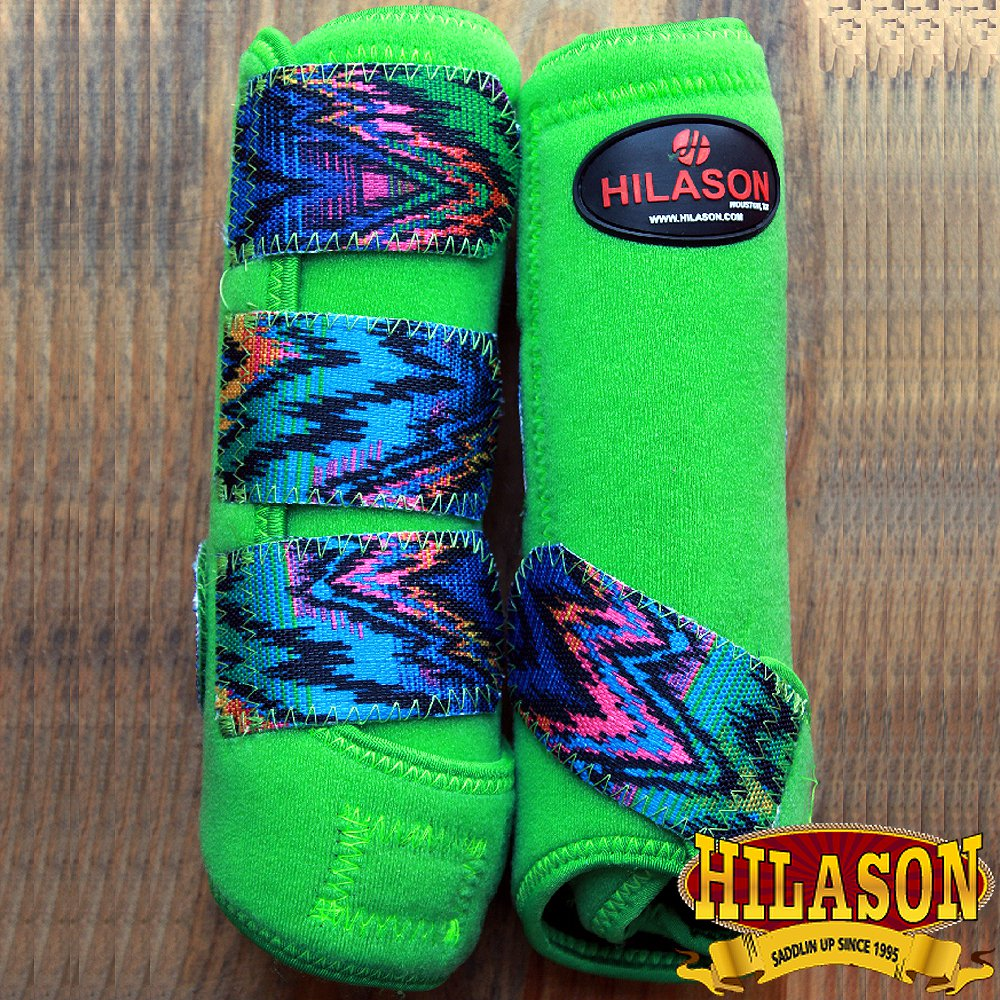 MEDIUM HILASON ZIGZAG LIME HORSE FRONT LEG PROTECTION ULTIMATE SPORTS BOOT PAIR