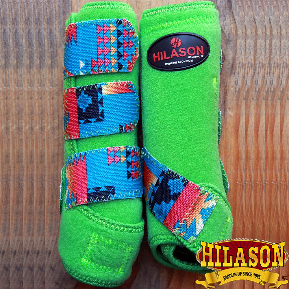 MEDIUM HILASON AZTEC LIME HORSE REAR LEG PROTECTION ULTIMATE SPORTS BOOTS PAIR